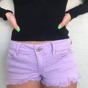Bullhead Denim shorts/ Pacsun purple shorts